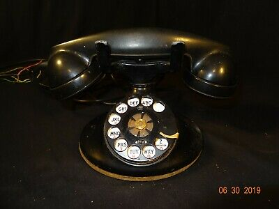 Vintage  Western Electric Rotary Dial  Black Telephone D1 Base F1 Receiver