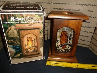 Wooden OWL Candle Box / Holder - HAND CRAFTED & PAINTED - NatureGLO Birds Owls