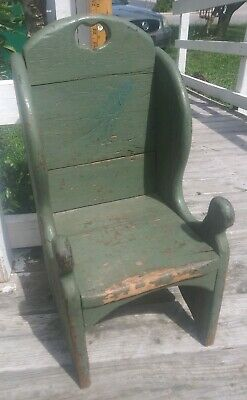 Antique Vintage Old Wooden Child's  Chair Primitive Country Oak Original Sturdy
