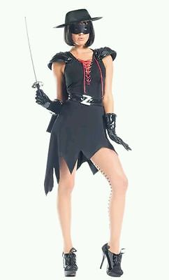 Be Wicked 8pc Enticing Bandit Black Zorro Dress Women's Halloween Costume Sz M/L