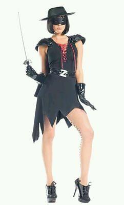 Be Wicked 8pc Enticing Bandit Black Zorro Dress Women's Halloween Costume Sz S/M