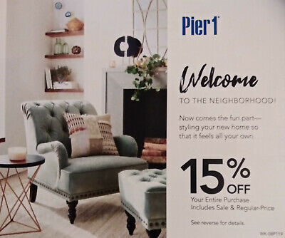 (1) Pier 1 Pier One 15% Off Entire Purchase In Store or Online Exp 9/30/19