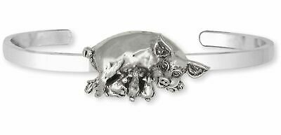Pig Jewelry Sterling Silver Handmade Pig And Piglets Bracelet  P5-CB