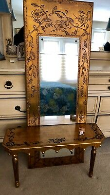 Antique Gold Leaf Hall Console Mirror/table