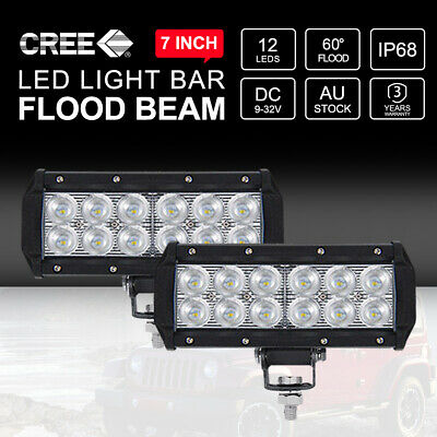 Pair 7inch CREE LED Light Bar Flood Beam Off Road 4X4 Work Driving Lamp Durable