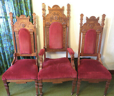 Set of 3 Antique Carved walnut? church pulpit chairs Victorian bishop chair