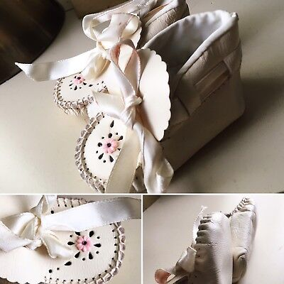 White Leather SHOES Vintage Doll Baby Unisex Booties Rare Moccasins