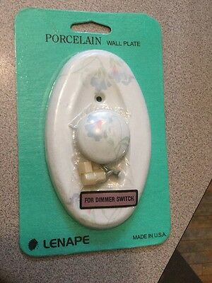 LENAPE Porcelain Antique Wall Outlet Plate White Flower Accents Dimmer Switch