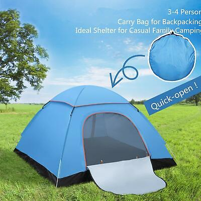 4 Man Automatic Pop Up Tent Outdoor Hiking Waterproof Camping Fishing UV Shelter
