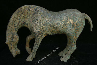 "16"" Chinese dynasty Palace Old Antique Bronze Animal Horses Statue Sculpture"