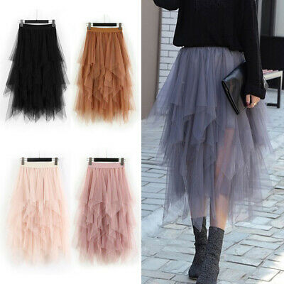Women High Waist Ruffle Mesh Tutu Maxi Skirt Sheer Mesh Tulle Pleated Long Dress