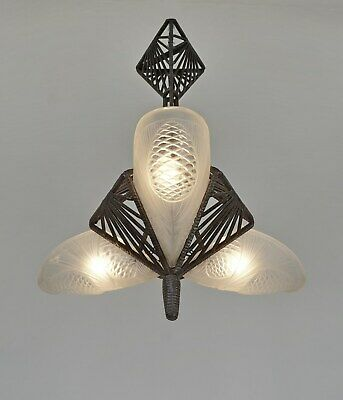 DEGUÉ  : 1930 FRENCH ART DECO CHANDELIER ..... wrought iron muller era pinecone