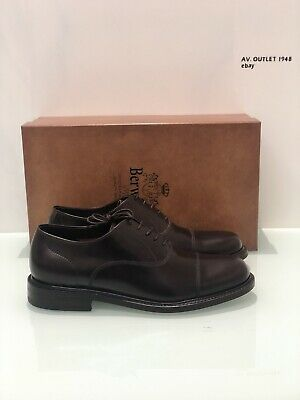 Berwick 1707 4235 In Pelle Marrone Fondo Cuoio Goodyear Welted Oxford Shoes 42.5