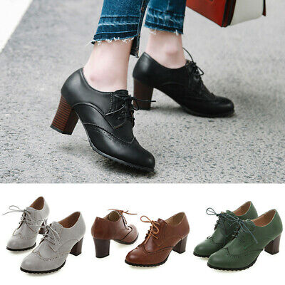 Womens Lady Patent Leather Platform Block Chunky Heel boots Oxfords Brogue Shoes