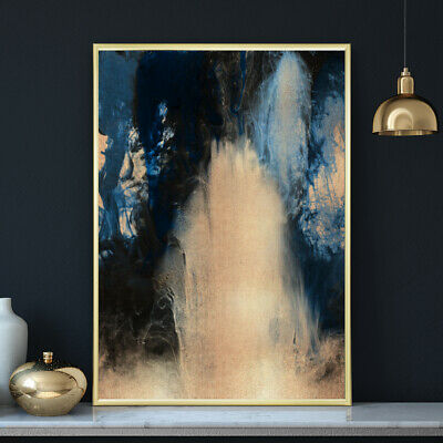 Deep Blue & Gold Abstract Watercolour Painting Wall Art Print Poster A4 A3 A2 A1