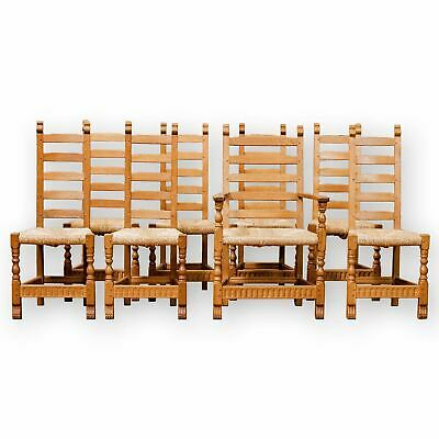 Rupert Griffiths Arts & Crafts English Oak Rush Seated Dining Chairs
