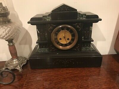 Black Slate Mantle Clock with green and gold good condition