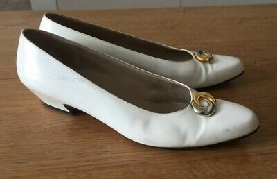 Salvatore Ferragamo low heel shoes, white leather, silver gold detail, UK 5 (38)