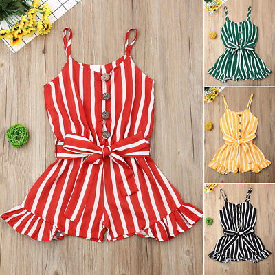 UK Summer Toddler Baby Kids Girls Stripe Romper Bodysuit Jumpsuit Outfit Clothes