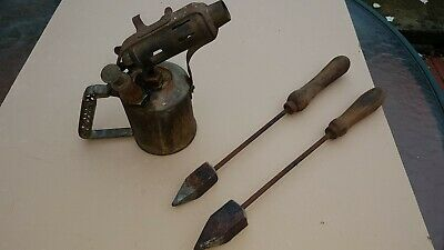 Vintage Companion Brass Blowtorch With 2 Soldering Irons, Collectable