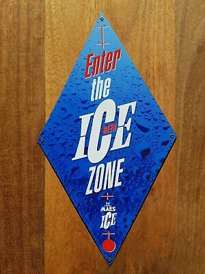 """Plaque Pub émaillée """"Maes Enter the Ice Beer Zone"""" - LIMITED EDITION X100 - 1995"""