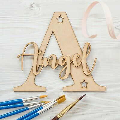 Personalised NAME & LETTER Wooden Script Names & Letters Wood Toy Box Decor MDF