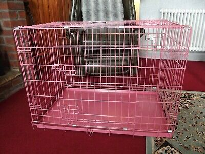 Pink Dog Puppy Metal Training Cage Crate Carrier XL sizes Easipet