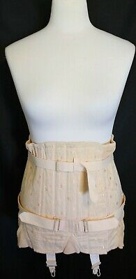 """VINTAGE 1950s JENYNS Pale Pink Boned Support Faned Laced Corset 31"""" Short Abs"""