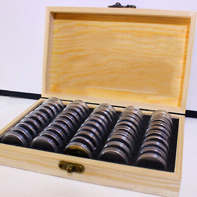 Wooden Coins Display Storage Box Case W/ 50 Round Coin Cases Capsules Holder