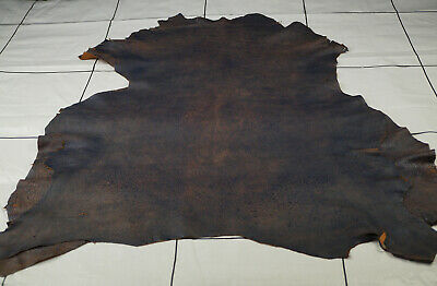 Brown Distressed Leather Hides - Two tone brown sheepskins |SOFT