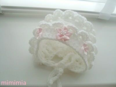 baby girl baby white bonnet hat baby pink satin flower baby pink  satin bows