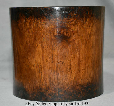 """8"""" Antique Chinese Huanghuali Wood Carved Glossy Round Brush Pot Pencil Vase"""