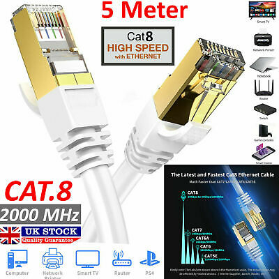 10M RJ45 CAT8 Ethernet Network SSTP 40 Gbps Patch Lead Flat Fast Cable White UK