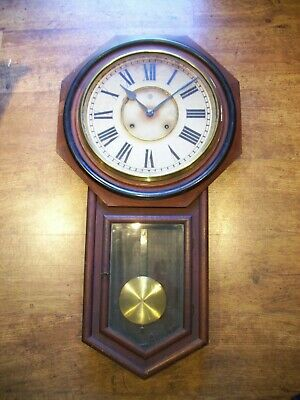 Antique Circa 1880 Ansonia Mahogany Drop Dial Wall Clock (Roman Numerals Key)