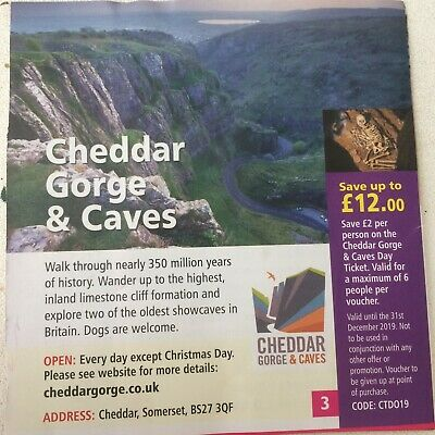 Cheddar Gorge & Caves Voucher! £2 off per person for up to 6 people