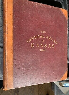 RARE Official State Atlas of Kansas,1887, L.H. Everts & Co,Lithograph,Color Maps