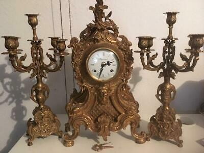Vintage Italian Imperial Brass Mantel Clock w/Pair Candelabras