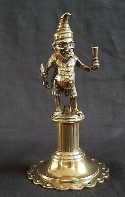 Antique Mr Punch Bar Top Cigar Lighter Victorian Cast Brass Figure