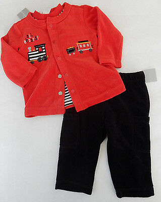 First Impressions 3 6 24 Months 3-Piece Red Train Velour Set Baby Boy Clothes