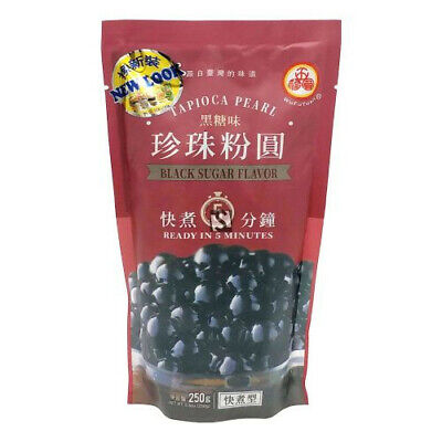 Wufuyuan Black Tapioca Pearl 250g for Bubble Tea + Straws