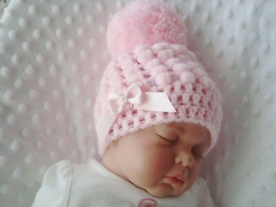 baby crochet hat girl pink 2 pink satin bows pink pompom hand made