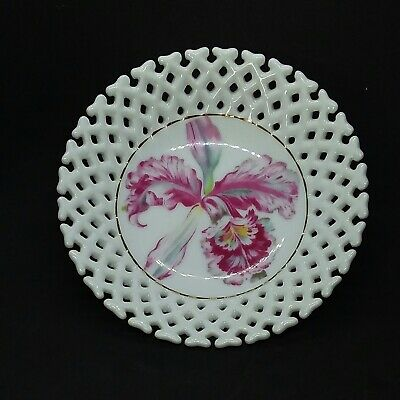 """Set 3, Castle China 5"""" Ceramic Floral Trinket/Candy Dish Bowl Reticulated Japan"""