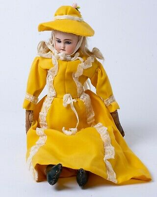 """Antique German Bisque Head Doll '112 3 1/2 Germany 5' Leather Hands Feet 19"""" T"""