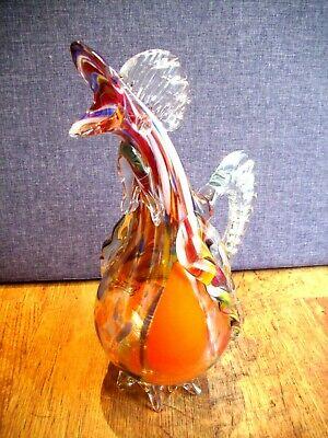 Vintage Italian Murano End of Day Glass Water Jug in the Shape of a Cockerel