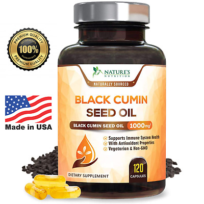 Black Seed Oil Capsules Highest Potency Black Cumin 1000mg - 120 count