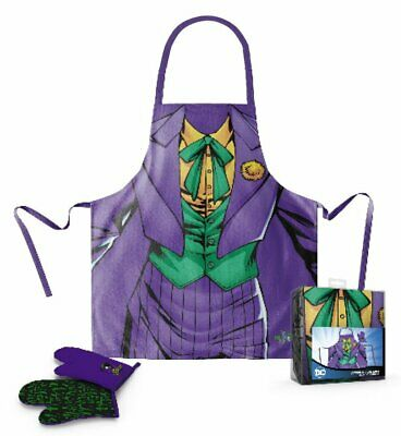 Officially Licensed DC Comics The Joker Cooking Apron and Oven Mitt Set *NEW*