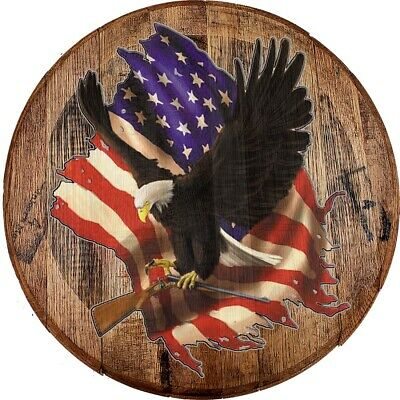 Whiskey Barrel Head American Bald Eagle Carrying Shotgun 2A Flag USA Bar Sign