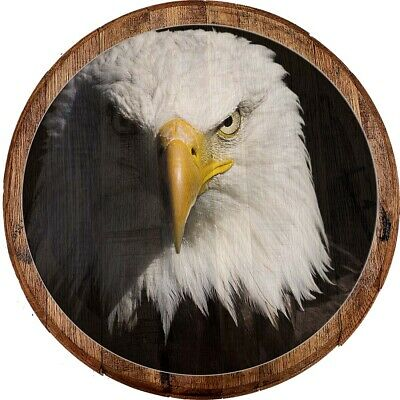 Whiskey Barrel Head Staring American Bald Eagle Closeup Patriot Décor Bar Sign