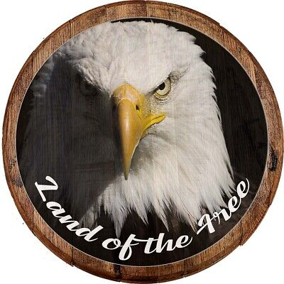 Whiskey Barrel Head Land of the Free American Bald Eagle Freedom USA Bar Sign