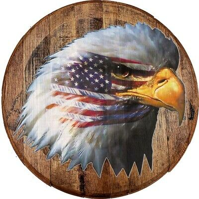 Whiskey Barrel Head Waving American Flag USA Bald Eagle Pride Man Cave Bar Sign